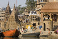 Varanasi Hindu Ghats - India Royalty Free Stock Photo