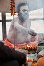 Varanasi india march hindu saint performs yagna prayer rituals lord shiva auspicious maha shivaratri festival march varanasi uttar Stock Images