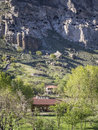Vardzia cave city monastery and the village underneath on may was excavated in the erusheti mountain in the th century and Royalty Free Stock Photography