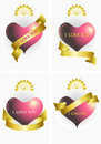 Variants of the heart and ribbons.Ilove you.Banner Stock Photography