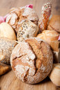 Variation of german bread and wholemeal buns original in wooden box Royalty Free Stock Photos