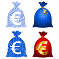 Variations currency sack euro eur on the theme ideas set of eps in an embodiment of the simple line can change the stroke Stock Photo