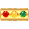 Varicoloured buttons on the panel of gold color Stock Image