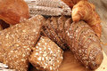 Varied bread display Royalty Free Stock Images