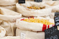 Varied pasta in bags on the market Royalty Free Stock Photos