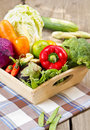 Varieties of vegetables in a wood tray Royalty Free Stock Photos