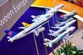 Variety of aircraft models at Singapore Airshow Royalty Free Stock Photography