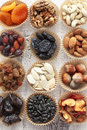 Variety assorted nuts dried fruits Stock Image