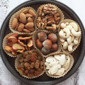 Variety assorted nuts dried fruits Royalty Free Stock Photography