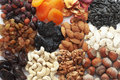Variety assorted nuts dried fruits Royalty Free Stock Images