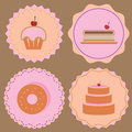 Variety of bakery icon color badges stock vector Stock Photos