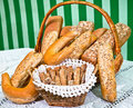 Variety of bakery product assortment with bread loaves buns rolls and danish pastries Royalty Free Stock Photography