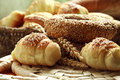 Variety of bakery products bread croissants Stock Image