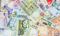 Variety of bank notes ii mixed close up view Royalty Free Stock Photography