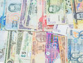 Variety of bank notes ix mixed close up view Royalty Free Stock Images