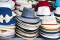 A variety of beautiful hats for ladies for sale in the market Vietnam. Royalty Free Stock Photo