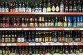 Variety of Belgian crafted beers on shop shelf display