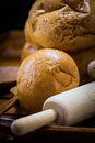 Variety of bread assortment baked on wood table Royalty Free Stock Photos