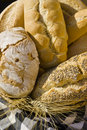 Variety of bread in a basket. Stock Photos