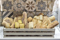 Variety of breads in the basket Royalty Free Stock Photo