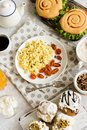 A rich and varied breakfast. Flat lay. Royalty Free Stock Photo