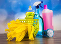 Variety of cleaning products,home work Royalty Free Stock Photo