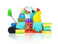Variety of cleaning supplies in a basket and housekeeping concept Royalty Free Stock Images