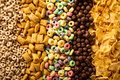 Variety of cold cereals overhead Royalty Free Stock Photo
