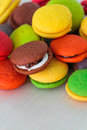 Variety of colorful marron cookies Stock Photos