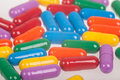 Variety of colorful pills painkillers antibiotic Stock Photos