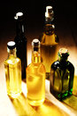 Variety of cooking oils standing on the table selectice focus Stock Photo