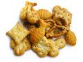 Variety of crispy, tasty snacks. On white. Stock Photos