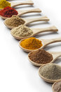 Variety of dried herbs and spices Royalty Free Stock Photo
