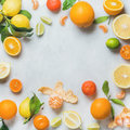 Variety of fresh citrus fruit for making juice or smoothie Royalty Free Stock Photo