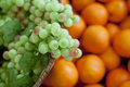 Variety of fresh fruits grapes oranges orangesfruits Stock Photography