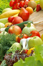 Variety of fresh fruits and vegetables organic on a table Stock Images