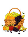 Variety of Fresh Fruits in The Wooden Basket Stock Image