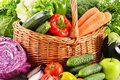 Variety of fresh organic vegetables composition with Royalty Free Stock Photos