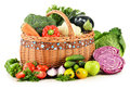 Variety of fresh organic vegetables on white composition with background Stock Photo