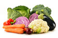 Variety of fresh organic vegetables on white composition with background Royalty Free Stock Images