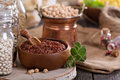 Variety of grains and beans on a wooden table Stock Photos