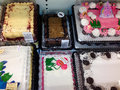 Variety of grocery store cakes