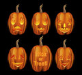 Variety of Halloween Jack O Lanterns Royalty Free Stock Images