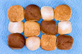 Variety of hamburger buns isolated on blue Royalty Free Stock Photo