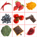 Variety of healthy antioxidants on a white background Stock Images