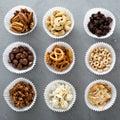 Variety of healthy snacks overhead shot Royalty Free Stock Photo