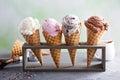 Variety of ice cream cones