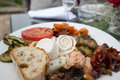 Variety of italian anti pasti outside starter typical selection Royalty Free Stock Photos
