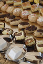 Variety of italian pastry on tray display Royalty Free Stock Photos