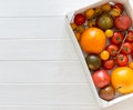 Variety of kinds of tomato in a box Royalty Free Stock Photo
